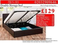 STRONG PU Leather Storage Frame Double Single Bedding Black Brown Charlotte