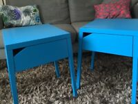 Pair of IKEA bedroom bedside tables drawers blue