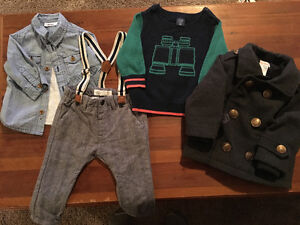 Baby boys 6-9 months dress clothes & pea coat $20