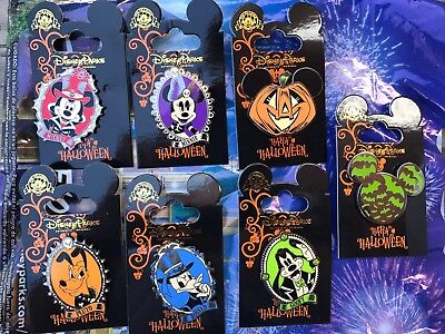 Disney Trading Pin Set Of 7 Pins 2017 Halloween Mickey Minnie Pluto Goofy Donald