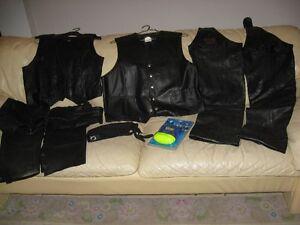 veste de cuir noir sans manche pour homme et femme