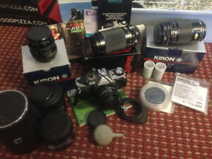 Canon AE-1 vintage film Camera with lenses