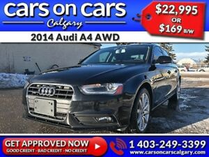 2014 Audi A4 AWD w/Leather, Sunroof, USB Connect $169B/W INSTANT