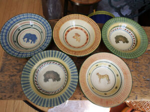 hand-painted African wildlife dessert bowls - set of 5