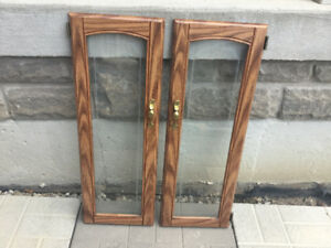 SOLID OAK & Glass Cabinet Doors 4 Kitchen or Bathroom LIKE NEW!