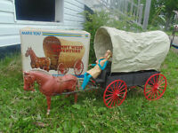 1975 JOHNNY WEST VINTAGE COVERED WAGON WITH FIGURE