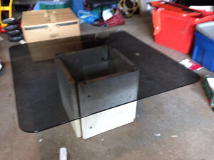 Glass Coffee/Side Table with Marble Base