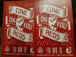 TFC vs Minnesota United. Fri April 19. Sec103, Row1, Seats# 1&2