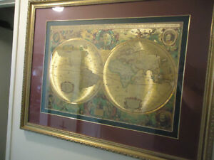 ANTIQUE MAP IN GOLD CARVED WOOD FRAME TRIPLE MATTED
