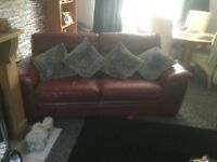 Deep red leather 3 seater sofa