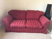 Red, 2 seater sofa bed