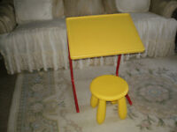 "LIKE NEW ""UNISEX""ADJUSTABLE HEIGHT FOLDING TABLE/DESK WITH STOOL"