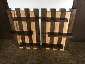 Hardwood pallet shelves