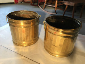 Pair of Brass Planter Pots