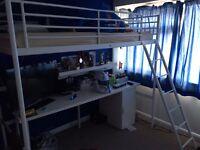 Svarta ikea loft bed with desk