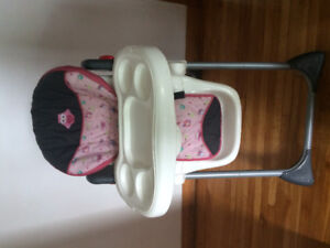 Baby girl high chair and vibrating seat like new!