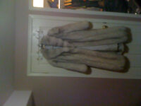 full length fox fur coat new with hat and muffs