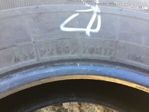 Four 265/70r17 Goodyear Wrangler SR-A tires