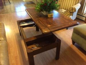 Raised coffee table
