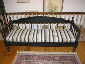 Ontario Country Settee. Restored . Black Milk Paint