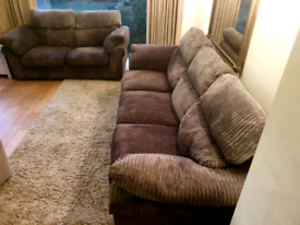 DELIVERY INCLUDED dark brown jumbo cord 2, 4 seater sofa, sofa suite