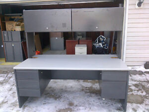 "72"" x 36"" grey laminate desk with metal base and hutch"