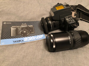 Yashica 230-AF 35mm camera and lenses