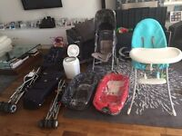 High chair, Stokke carry cots, maclaren pram, travel prams, travel cot & more