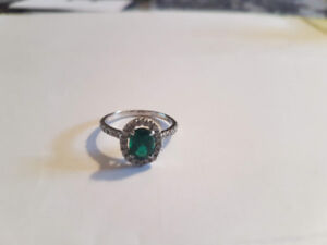 Lady's Emerald Wedding or Engagement Ring