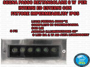 8 FARETTI INCASSO LED 6 W INTERNO/ESTERNO SEGNA PASSO RETTANGOLARE PARETE IP 65 - Italia - L'oggetto può essere restituito - Italia