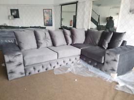 NEW Grey Velour Velvet Large Corner Sofa DELIVERY AVAILABLE