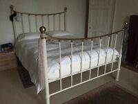 Cream Metal and Brass Kingsize Bedframe