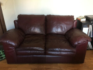 Two-Piece Leather Couches (Three-Seater and Loveseat)