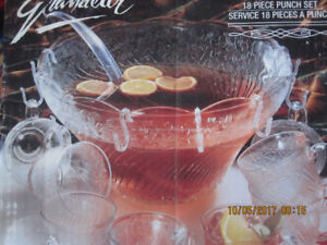 Large punch bowls with glasses