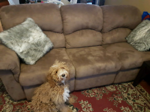 Dark tan Microswede recliner couch