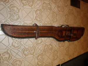 VINTAGE HAND TOOLED LEATHER RIFLE CASE SCABBARD MADE IN MEXICO