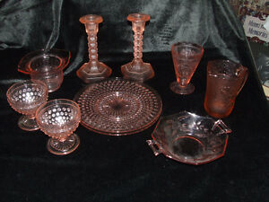 Outstanding pink and frosted pink depression glass collection