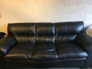 Leather Black Couch - Great condition!