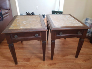 REDUCED FOR QUICK SALE -Real wood end tables with marble inserts