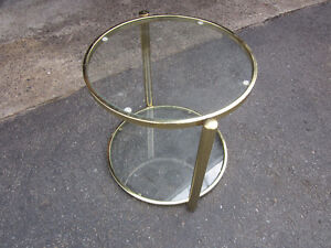 Brass and Glass round end table