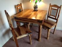 Sheesham solid wood table and 4 chairs
