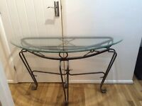 Glass top metal frame hall way table excellent condition length 4 ft width 18 inches
