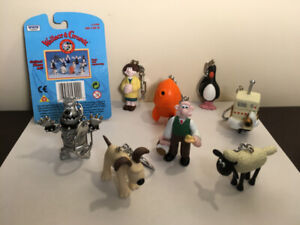 """""""Wallace & Gromit""""- character keychain/ figures (8) ~ 1989"""