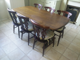Ercol Refectory Dining Table (Model No. 155) & 6 Chairs