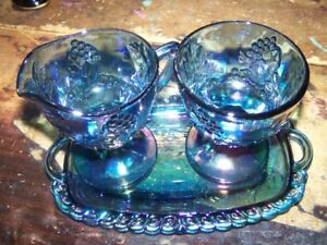 Carnival Glass Blue Creamer Sugar Bowl & Tray Harvest Grape