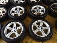"""17"""" GENUINE BMW 3 SERIES 2013 ALLOY WHEELS WITH TYRES ALL RUNFLAT"""