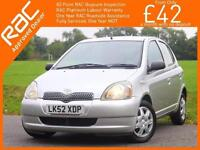 2002 Toyota Yaris 1.3 VVT-I GLS 5 Door 5 Air Conditioning Just 2 Owners Only 73,