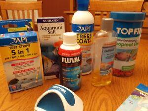 fish food and tank supplies
