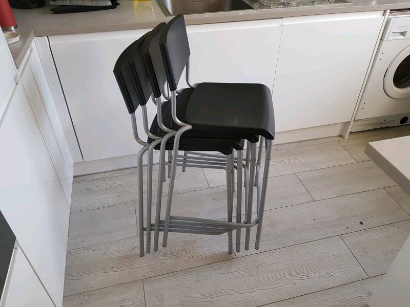 Awe Inspiring 4 Stig Bar Stools With Backrest Black Silver Colour 63 Cm In South West London London Gumtree Gmtry Best Dining Table And Chair Ideas Images Gmtryco
