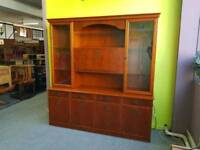 Morris Furniture Yew Wood Display Cabinet / Wall Unit - Can Deliver For £19
